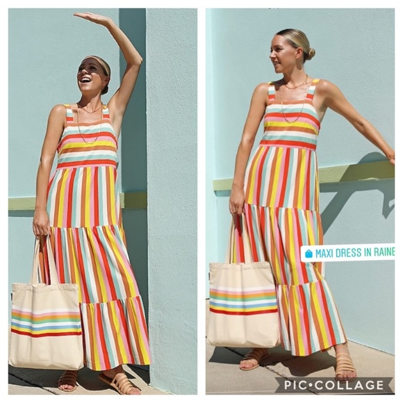NWT J. Crew Maxi Dress in Rainbow Stripe